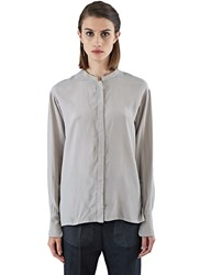 Ilaria Nistri Long Sleeved Sill Blend Blouse Neutrals