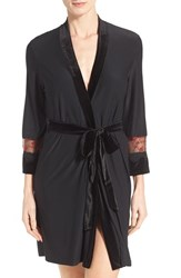Women's In Bloom By Jonquil Velvet Embroidered Wrap Robe