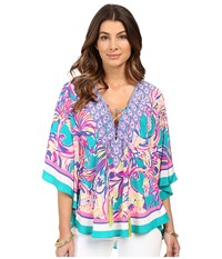 Lilly Pulitzer Lettie Top Agate Green Safari Sighted Women's Clothing Multi