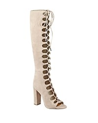 Kendall And Kylie Emma Tall Lace Up Gladiator Boots Natural