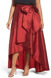 Adrianna Papell Plus Size Women's High Low Taffeta Skirt Red