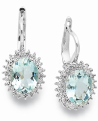 Macy's 14K White Gold Earrings Aquamarine 3 3 8 Ct. T.W. And Diamond 1 2 Ct. T.W. Leverback Earrings