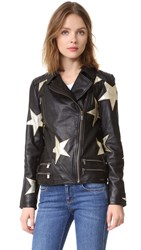 Scotch And Soda Maison Scotch Stars Leather Jacket Black
