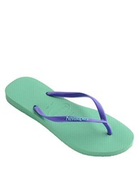 Havaianas Slim Logo Jelly And Rubber Thong Sandals Light Green