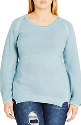 City Chic Plus Size Women's Zip Detail Crewneck Sweater Seafoam