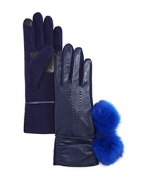 Echo Leather Tech Gloves With Rabbit Fur Pom Pom Navy