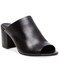 Steve Madden Women's Infinity Peep Toe Mules Women's Shoes Black Leather