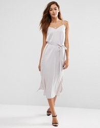Asos Midi Slip Dress In Satin With Tie Waist Grey