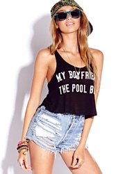 Forever 21 Pool Boy Cropped Tank Black Cream