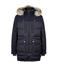Brunello Cucinelli Fur Trimmed Wool And Cashmere Down Jacket Male Navy