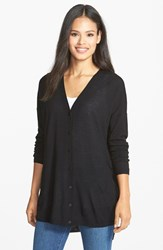 Women's Eileen Fisher Lightweight Merino High Low V Neck Cardigan Black