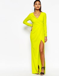Lipsy Wrap Front Long Sleeve Maxi Dress Lime Green