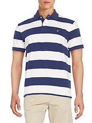 Gant Regular Fit Wide Striped Cotton Polo Shirt Bianco