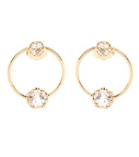 Loren Stewart White Topaz 14 Kt Yellow Gold Circle Studs