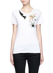 Alexander Mcqueen Bug Embellished Jersey T Shirt Multi Colour