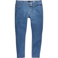 River Island Mens Mid Blue Sid Skinny Stretch Cropped Jeans