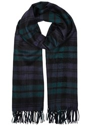 Johnstons Of Elgin Green Checked Cashmere Scarf Dark Green