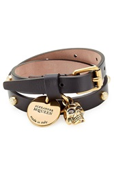 Alexander Mcqueen Wrap Around Leather Bracelet Black