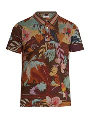 Valentino Tropical Print Cotton Jersey Polo Shirt Multi