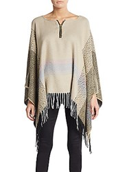 Bcbgeneration Diamond Pattern Poncho Tan Multi