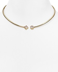 Michael Kors Open Cuff Collar Necklace Gold Clear