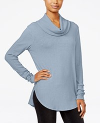 Ultra Flirt Juniors' Cowl Neck Waffle Knit Tunic Pale Blue