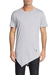 American Stitch Asymmetrical Cotton Tee Grey