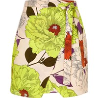 River Island Womens Yellow Retro Floral Print Wrap Skirt
