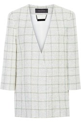 Wes Gordon Checked Linen Cotton And Silk Blend Tweed Jacket White