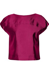 Raoul Cropped Wool And Silk Blend Top Purple