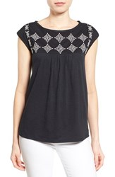 Women's Caslon Embroidered Cap Sleeve Knit Top