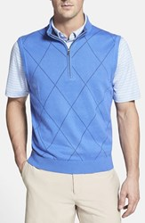 Men's Cutter And Buck Argyle Mock Neck Sweater Vest Spinnaker Blue