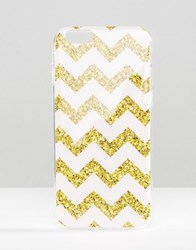 Signature Iphone 6 Case In Glitter Chevron Print Pink Gold