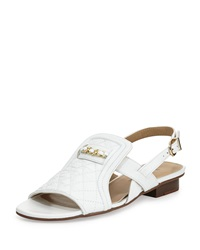 Neiman Marcus Bandele Quilted Leather Sandal White