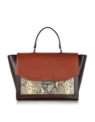 Class Roberto Cavalli Chamaleon Medium Color Block And Python Print Satchel Red