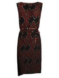 Issey Miyake Perry Pleated Dress Red Multi
