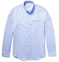 Maison Martin Margiela Slim Fit Button Down Collar Cotton Oxford Shirt Blue