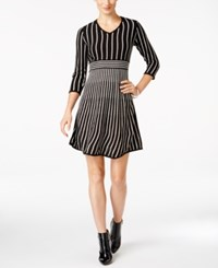 Ny Collection Petite Striped Fit And Flare Sweater Dress Pandora