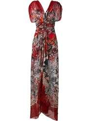 Roberto Cavalli Floral Print Ruched Dress Red