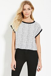 Forever 21 Contemporary Chevron Boxy Top Ivory Black