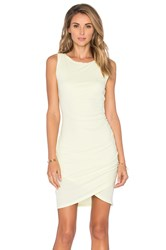 Bobi Supreme Jersey Crossover Ruched Dress Yellow