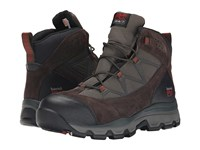 Timberland Rockscape Mid Steel Safety Toe Brown Suede Red Pops Men's Lace Up Boots Black