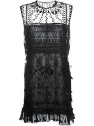 Valentino Feather And Bead Embellished Dress Black