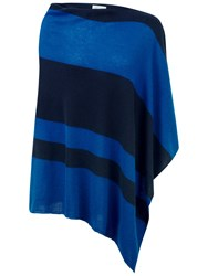 Pure Collection Gassato Cashmere Asymmetric Poncho Oxford Blue Navy