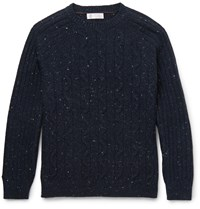 Brunello Cucinelli Melange Cable Knit Sweater Blue