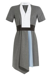 Carven Wool Dress With Pleated Insert Grey