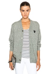 Comme Des Garcons Play Wool Black Heart Emblem Cardigan In Gray