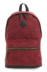 Topman Leaf Print Backpack Burgundy