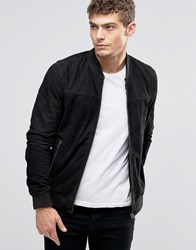Jack And Jones Suede Bomber Jacket Black