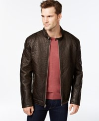 Inc International Concepts Eric Embossed Faux Leather Bomber Jacket Only At Macy's Brown